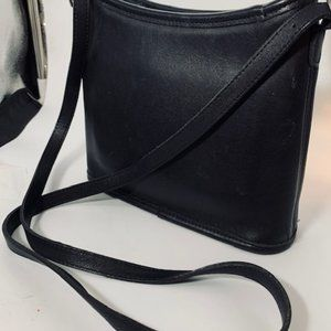 Vintage Coach Black Leather Crossbody Bag